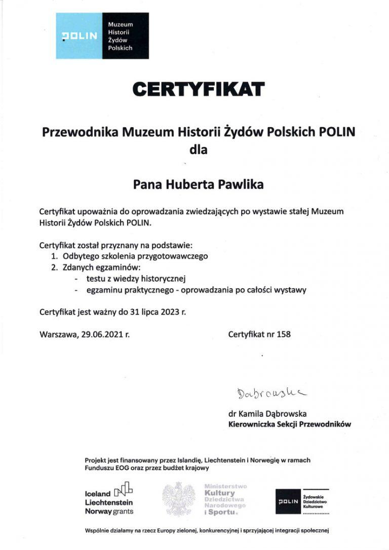 Certyfikat Muzeum Polin